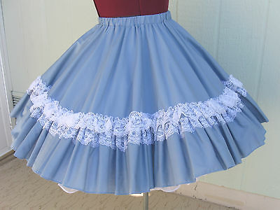 The Great American Square Dance Co blue poly cotton square dance skirt  S