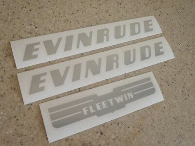 Evinrude Fleetwin Outboard Vintage Decal Kit Silver FREE SHIP + FREE Fish Decal!