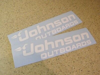 """Johnson Outboards Decal Die-Cut 12"""" WHITE 2-PAK FREE SHIP + FREE Fish Decal!"""