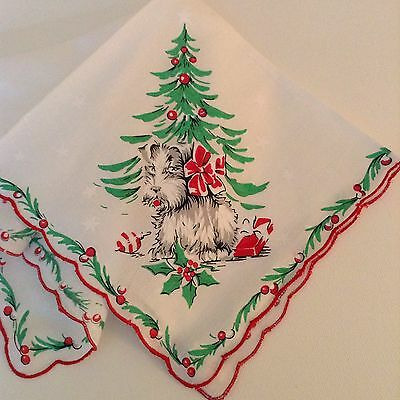 Darling New Christmas Handkerchief ~ Holiday Scottie Dog Hankie!