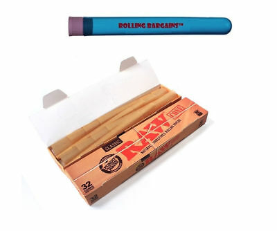 32 Raw Organic Pack Cones King Size Pre-Rolled Natural Rolling Paper Free Tube