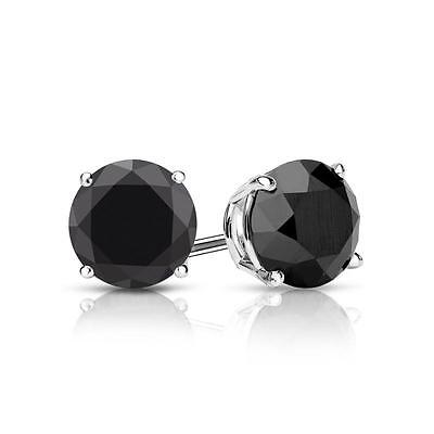 2 Ct Black Round Earrings Studs Brilliant Screw Back Basket Solid 14K White Gold