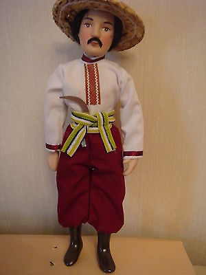 "Porcelain doll in a traditional costume 8.5""  doll male Ukrainian"