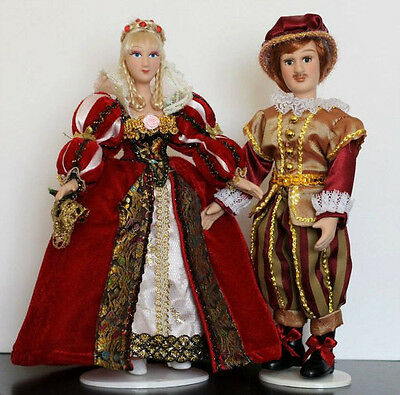 "2 porcelain dolls in the  8.5"" beautiful doll in Russian dresses"