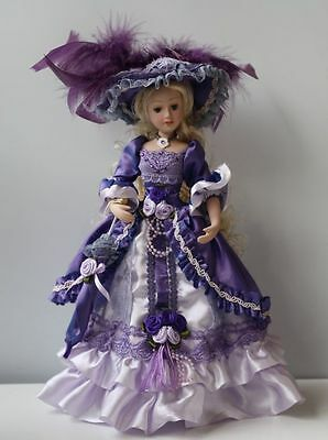 Porcelain Doll in purple Victorian dress umbrella 10 inch