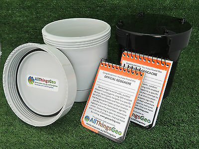 100mm PVC Short Geocache Containers Stealth Black or White Ready to Hide Regular