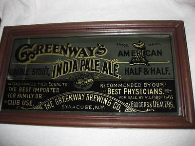 VINTAGE GREENWAY BREWING CO REVERSE PAINTING BEER SIGN - SYRACUSE NY