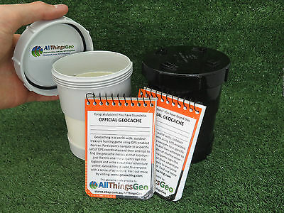90mm PVC Short Geocache Containers Stealth Black or White Ready to Hide Regular