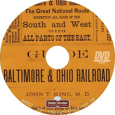 1874 Guide to Baltimore and Ohio Railway { Railroad History Book } on DVD