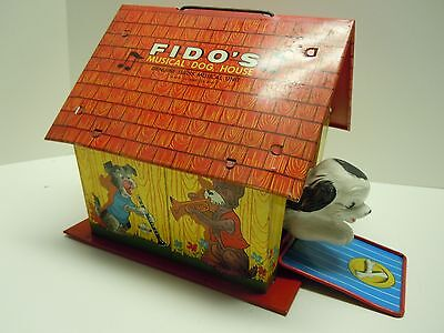 Vintage Ohio Art Tin Toy - Wind Up Fido's Musical Dog House-Swiss Movement.NORES