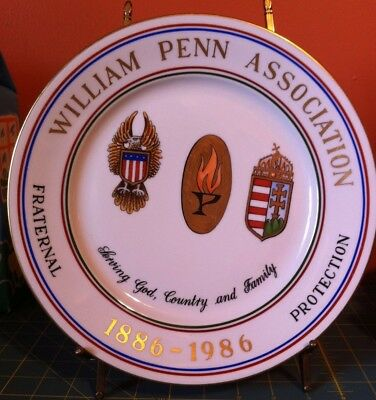 Herend Hungary 2525 WILLIAM PENN ASSOCIATION Plate 100yrs 1886-1996 WW Shipping