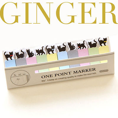 Black Kitty Cat Mini 150 Pages Post It Funny Bookmark Index Tab Sticky Notes