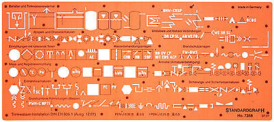 Sanitary Piping Water Schematic Symbols Drawing Drafting Template Stencil