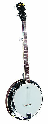 BRYDEN - 5 string banjo. Ivory bound striped mahogany resonator. Mahogany neck