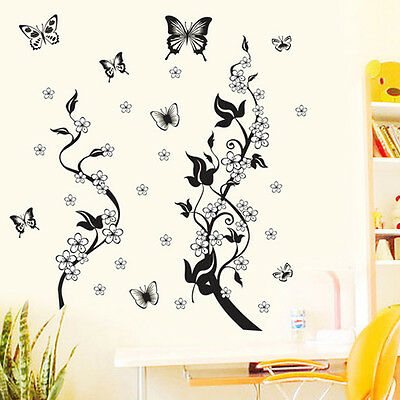 PH Butterfly Flowers Tree Wall Stickers Removable Home Decor Art Mural Decals