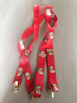 Vintage Santa Claus Christmas Suspenders Green Hat Adjustable W/ Clips 1.25""