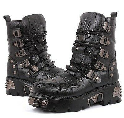 2015 TOP PUNK Rock-Men's Fashion Motorcycle Army COOL Boot # PU Leather-SZ8/9/10