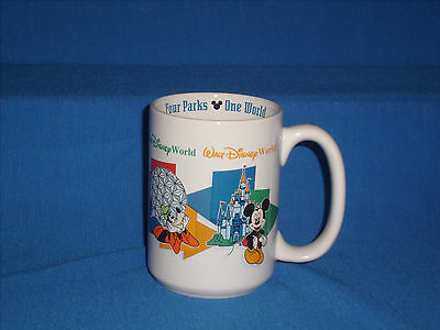 "Walt Disney World ""DAD"" coffee cup mug Authentic Four Parks One World (A5-6)"