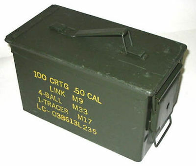 Ammo Tin, 50 Cal Ammunition Tin, Box, Army, Military