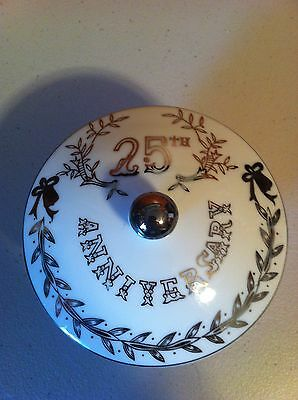 LEFTON 25th Anniversary Silver Accent Large Covered dish