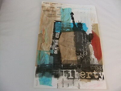 LIBERTY~FREEDOM~MIXED MEDIA COLLAGE~ROMANIAN ,SIGNED
