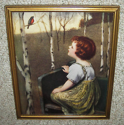 """OLD ORIG PRINT """"SPRING SONG"""" BY SIMON GLUCKLICH ~ GOLD VINTAGE FRAME WITH GLASS"""