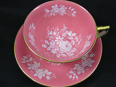 AYNSLEY BLUSH PINK WHITE ENAMEL ROSE FLORAL CUP AND SAUCER