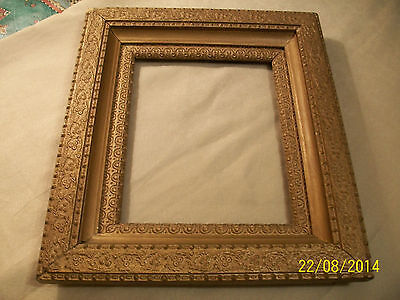 """ANTIQUE Wood & Plaster PICTURE FRAME Ornate 13.5"""" x 15.25"""" GOLD TONE w/Glass!"""