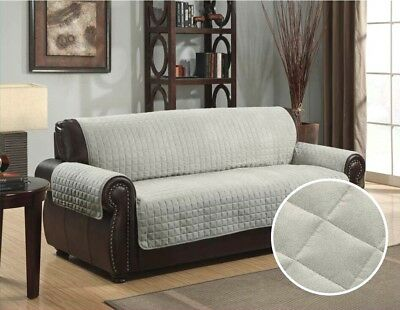 Quilted Micro Suede Pet Dog Couch Sofa Furniture Protector Cover, Kashi, Grey