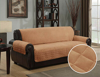 Quilted Micro Suede Pet Dog Couch Sofa Furniture Protector Cover, Kashi, Camel