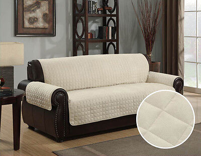 Quilted Micro Suede Pet Dog Couch Sofa Furniture Protector Cover, Kashi, Beige