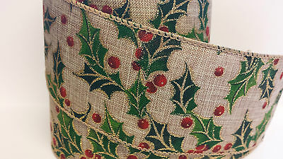 1m x Hessian Holly Berry Wide Ribbon Christmas Cake Gisela Graham Vintage