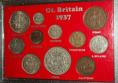 GB Great Britain King George VI The Coronation Crown Coin Year Gift Set of 1937