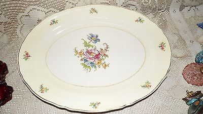 EDWIN M. KNOWLES SEMI VITRIOUS FLORAL DESIGN PLATTER