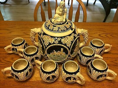 GERMAN CASTLE PUNCH BOWL SET MARZI & REMY BACCHUS LID TUREEN CUPS