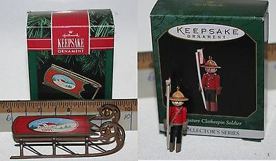 Lot of 2 Vintage Hallmark Keepsake Ornaments Old Fashioned Sled Soldier in Boxes