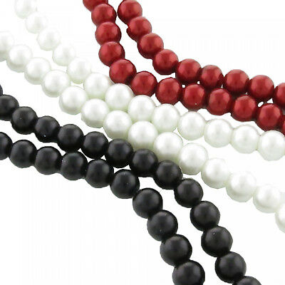 145 Imitation pearls 6mm white red black 84cm Strand Glass pearls Beads