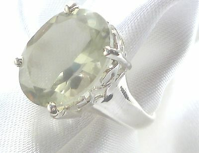 Prasiolith facettiert Ring 925  Sterling Silber Gr18,5  Edelstein Ring