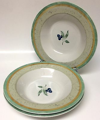 3 PTS International Interiors Blueberry Rimmed Soup Bowls Stoneware 9 1/4""