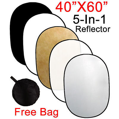 "Lusana Studio 40"" x 60"" 5 in 1 Photography Multi Collapsible Reflector Oval Disc"