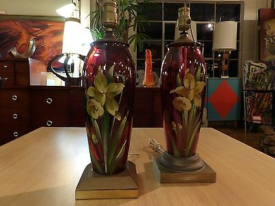 Early 20th Century Hand Painted Glass Lamps