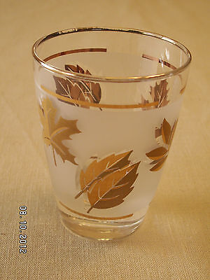 8 VINTAGE 60'S LIBBEY TUMBLER WATER GLASS GLASSWARE FOILAGE LEAVES GOLD ACCENTS
