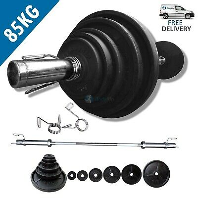 BodyRip Classic Olympic Weights Set 85kg 6FT Barbell Bar Plates Collars Fitness