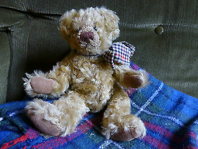 Antique Vintage Tartan Teddy Bear by Sunkid Christmas Present Child