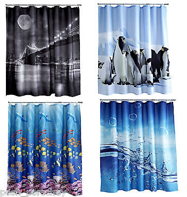 Quality Nautical Tropical Fish Polyester Weighted Hem 180x180cm Shower Curtain