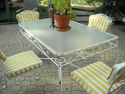 Vintage Russell Woodard Mid-Century Modern Wrought Iron Patio Table and 4 Chairs