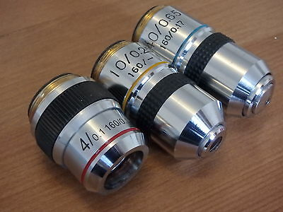 Unsed DIN Microscope objectives SET of 3 -  4x, 10x, 40x for 160mm TL; RMS