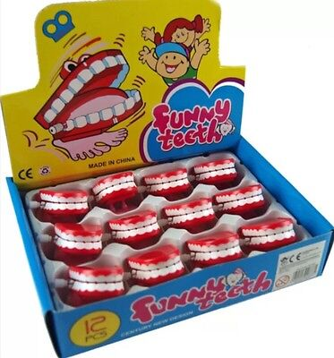 12x Wind Up Chattering Funny Teeth No Eyes Toys Pinata Loot Bag Fillers UK SELL
