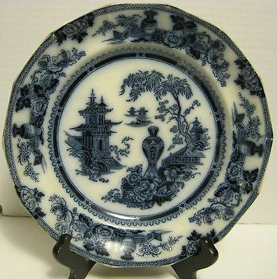 "Flow Blue 9-1/2"" Dinner Plate, Jeddo, W. Adams & Son, C. 1845 As Found"