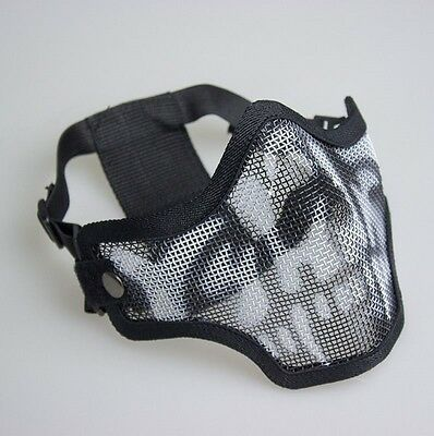 GHOST Mesh Airsoft Mask Metal Half Face Protection Strike Paintball Tactical